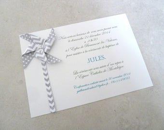 Invitation birth - windmill for boy christening - card / handmade / handcrafted