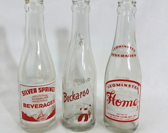 Lot of 3 VTG Red and White Soda Pop Bottles Bright Cheery Display Vase
