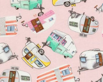 Timeless Treasures Under The Stars Pink Camping Trailers - 1 yard