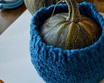 Hand Knit Pumpkin Cozy! Just Kidding, It Is a Headband. 100% Wool Textured Hand Knit Blue Headband Bun Compatible Hat Alternative Fall Style