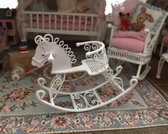 Miniature Rocking Horse, White Metal Rocking Horse, Dollhouse Miniature, 1:12 Scale, Dollhouse Accessory, Decor, Topper, Crafts