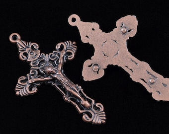 Rosary Crucifix Pendant Antique Copper Rosary Parts Supplies