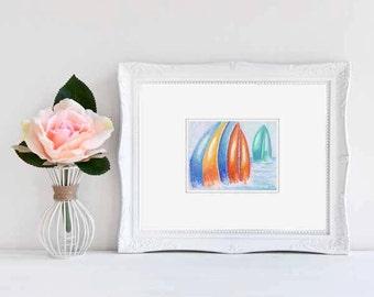 Original Art Regatta Dreams Soft Pastels Matted Drawing