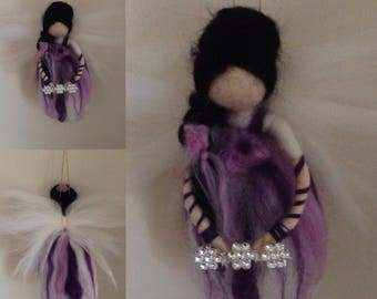 Waldorf inspired lilac flower fairy needle felted with love