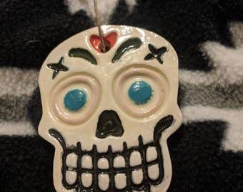 Heart Sugar Skull Ceramic Ornament
