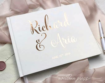 Wedding Guest Book, Real Rose Gold Foil Wedding Guestbook, Gold Foil Hardcover Personalized Custom Wedding guest book, Silver Foil, Copper