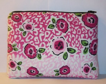 "Pipe Pouch, Padded Pouch, XL Pink Floral Bag, Zipper Bag, Pipe Cozy, Flowers Pouch, Gadget Bag, Padded 420 Bag, Pipe Case, 7.5"" x 6"" X LARGE"