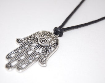 Hamsa Hand Necklace,Silver Hamsa Hand,Leather Cord Necklace,Choker Necklace,Man,Spiritual,Men Necklace,Ethnic necklace,Custom Made Any Size