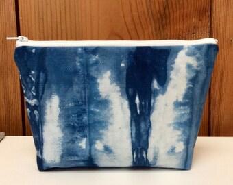 Shibori Makeup Bag - Indigo Dye Fabric - Hand Dyed Zipper Pouch - Cosmetic Bag - Japanese Shibori