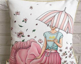 Pink Spring Pillow Cover