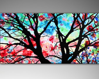 Large Abstract Painting, Original Abstract Colorful Tree Painting on Canvas, Modern Abstract Tree Art, Wall Deco
