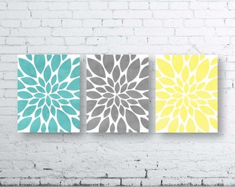 Flower Wall Art-Turquoise Gray Yellow Dahlia Flower Print-Set of Three (3)-Instant Download. Home Petals Bloom Wall Art. Abstract Art. Burst