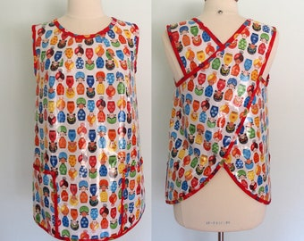 Waterproof Crossback Apron with Colorful Dolls, Smock, Artist Apron, Adult Bib Alternative, Susy Ultman Little Senoritas Laminated Cotton