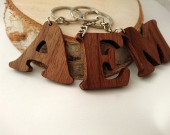 Wooden Letter Keychain, Walnut Wood, Letter Keychain, Environmental Friendly Green materials