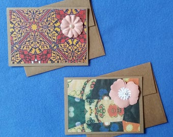 Two Flower Greeting Cards - Recycled Handmade Paper & Kraft Paper