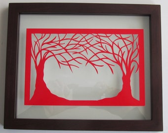 VALENTINE'S DAY Gift 2 Trees Of Life RED Silhouette Paper Cut Wall and Home Décor, Original Design - SIGNeD Symbolic Art, Hand Cut OoAK