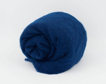 Blue carded wool 1.77oz (50gr), 26-29 mic. Felting Wool, For Spinning And Needle Felting.  100% wool.