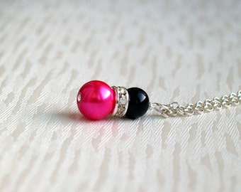Pink Necklace, Black Hot Pink Bridesmaid Jewelry Necklace, Hot Pink Black Pearl Bridesmaid Gift, Wedding party,  Flower Girl Necklace