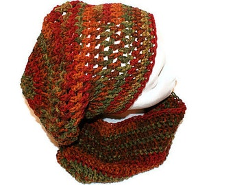 Mens Hat Cowl Set, Womens Ensemble, Slouch Hat, Dread Hat, Winter Fashion Set, Autumn Fashion Scarf, Slouchy Hat, Trendy Hat Scarf