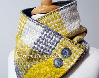 Yellow Gray and White Fleece Lined Neck Warmer Scarf with Gray Tortoise Buttons and Snap, Scarves, Neckwarmer, Wrap, Snood, Collar
