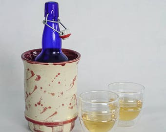 Ceramic Wine Chiller - Kitchen utensil holder - Pottery container - Red ceramics