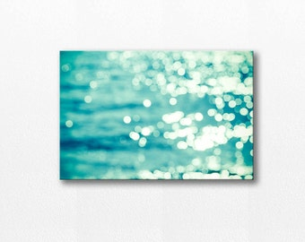 abstract canvas art bokeh photography canvas nautical decor 20x30 fine art photography sparkle canvas wrap coastal canvas large aqua blue