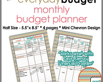 "HALF SIZE 5.5"" x 8.5"" - Monthly Budget Tracker Planner Printable Worksheet -  Mini Chevron - PB1519"