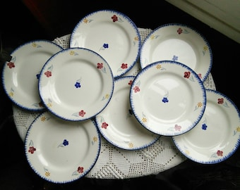 Set of 8 Digoin Mary Lou Hand Painted French Vintage Plates