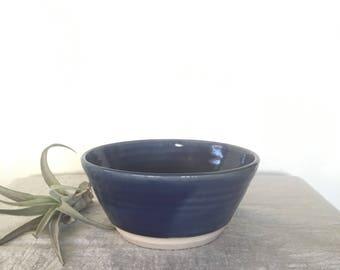 Vintage Pottery Bowl, Vintage Handmade Pottery, Beautiful Pottery lovely Moms Day Gift Idea, Blue shiny Glazed Bowl