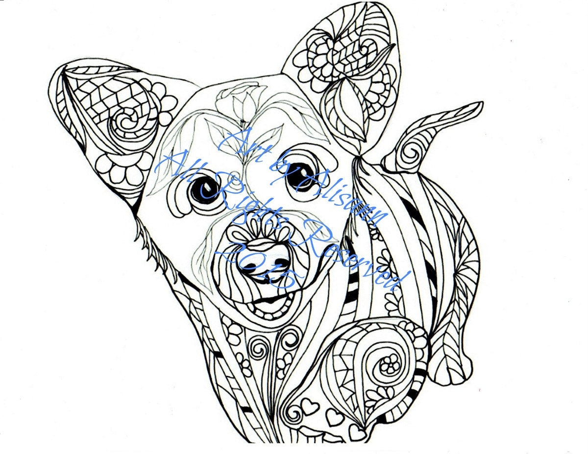 Corgi Puppy Love Dogs Digital PDF Download Coloring