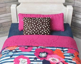 18 Inch Doll Bedding Set, American Girl Doll Bedding, Pink Doll Bedding Set, Doll Accessories, Doll Sized Blanket, Doll Mattress