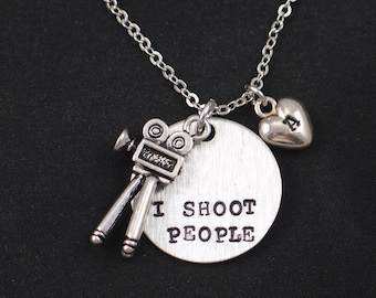 I Shoot People necklace, sterling silver filled, hand stamped necklace with movie camera charm, personalized initial charm,photographer gift