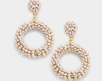 Beaded Gold and Taupe Earrings