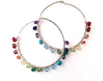 Large Rainbow Hoop Earrings. Hand Hammered Large Round Sterling Silver Multi Gemstone Hoops.