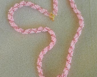 Beaded Spiral Rope Necklace with Removable Pearl Pendant in Cotton Candy Pink