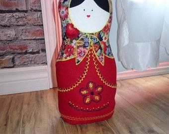 Handmade Door stop - Matrioshka Doorstop – Russian Doll – Handmade Door stop -  Embroidery Doorstopper - Textile Art - 15 in - 38 cm - MA20