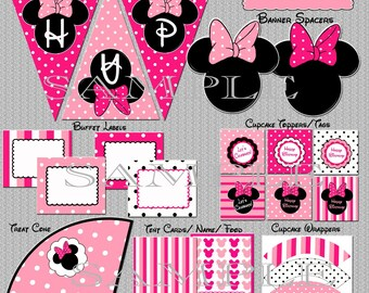 Minnie Mouse Party Package - Matches Minnie Mouse invitation Pink - Instant Download YOU PRINT non-editable PDF files Printable Party Pack