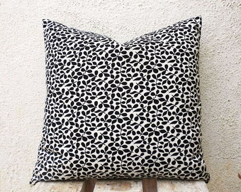 Decorative Pillow Covers -  Black and White Print - 16 x 16  - 1 pair - ct82A