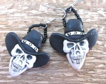 Black Hat Cowboy Skull Earrings, Halloween Earrings, Skull Southwestern Dangle Earrings, Skeleton Boho Goth Hippie Earrings