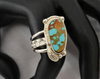 Turquoise ring in sterling silver.  No. 8 mine turquoise.  finished as a ring to size or as a pendant.  you choose