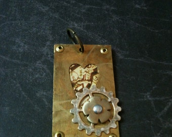 Brass Steampunk Heart Clockwork Window Necklace with Gear and Flower