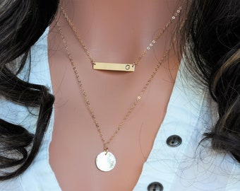 Layered Necklace Set - Double layered Long bar monogram - Disc Necklace -  Initial Name Plate -  Gold Disc NEcklace - Inspirational - Bar