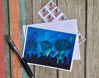 Aurora Borealis note Card - Northern Lights Card - Nature Card - Blue Card - Blank Card with Envelope - Original Art Card - Custom Note Card