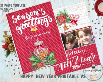 Happy New Year Photoshop Templates Cards, Greeting Cards Photoshop Templates, Custom illustrated christmas card, New Year Illustrated cards