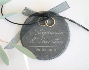 Personalized ring Cushion/Ring plate of slate with name and date
