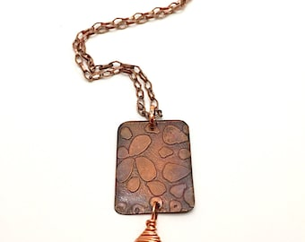 Etched Copper Necklace, Bohemian Copper Necklace, Copper Pendant