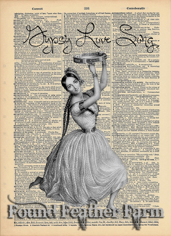 """Vintage Antique Dictionary Page with Antique Print """"Gypsy Love Song"""""""
