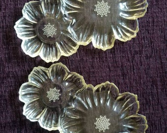2 Rare Hazel Atlas Daisy Sunflower yellow snack plates