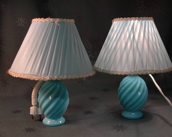 Pair of small lamps in blue opaline