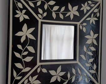 Art Deco style faux inlay frame with mirror
